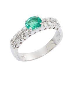 Anello Fascia Donna in Oro bianco 18k con Smeraldo e Diamanti